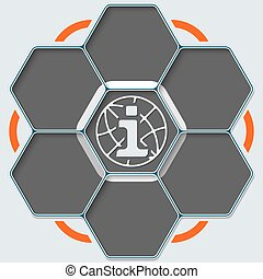 Set of seven hexagons for your text and share symbol