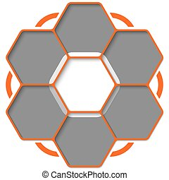 Set of seven hexagons for your text