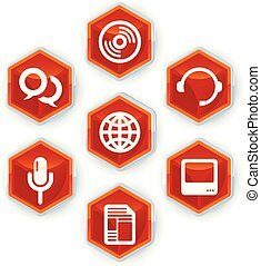 Set of seven media icons on hexagons.