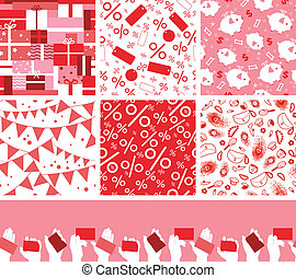 Set of seven sale and shopping seamless patterns backgrounds...