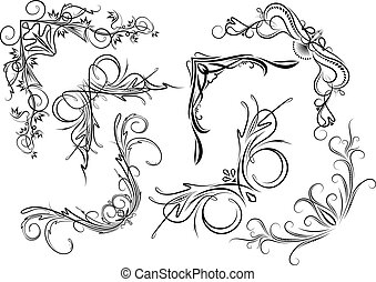 Set of seven stylish decorative elements - vintage corners for your design or tattoo.