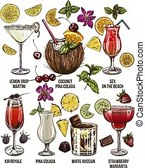 Set of seven summer cocktails with decorative elements,...