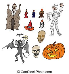 Set of several Halloween hand-drawn icons