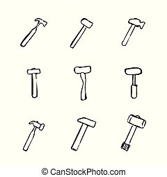 Set of several hammer icons. Drawn by hand.