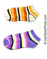 set of several multi colored socks isolated on white background