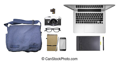 Top view Set of bag, note book, pen, phone, spectacle , film camera, laptop, pen tablet, clean and easy to change the background