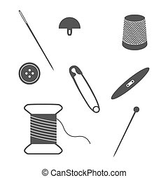 Set of sewing and needlework icons. Collection of design...