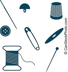Set of sewing and needlework icons.