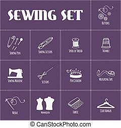 Set of sewing and tailoring icons. Vector illustration.