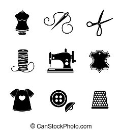 Set of sewing icons - machine, scissors, thread, leather tag, mannequin, needle, buttons, thimble, fabric. Vector