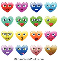 Set of Sexy Colorful Heart Smile Emoticons