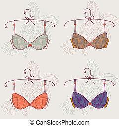 Set of sexy vintage bra