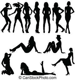 Set of sexy women silhouettes