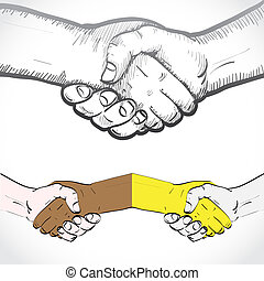 Set of shaking hands - illustration