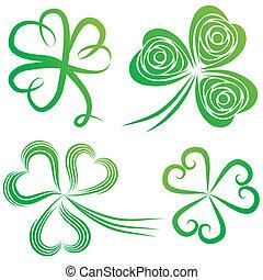 Set of shamrocks. - Set of green shamrock. Group of clover ...