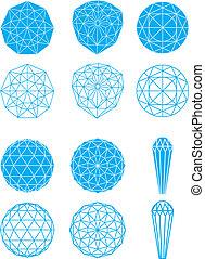 Set of shaped diamonds