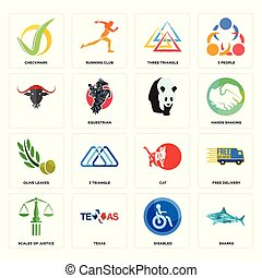 Set of sharks, disabled, scales justice, cat, olive leaves, , three triangle, checkmark icons