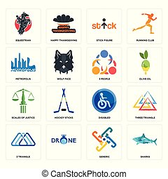 Set of sharks, generic, 3 triangle, disabled, scales justice, people, metropolis, stick figure, equestrian icons