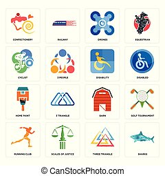 Set of sharks, three triangle, running club, barn, home paint, disability, cyclist, drones, confectionery icons