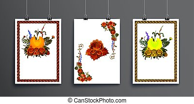Set of sheets of paper with binders on a white background with floral design elements. Vector illustration of a greeting card or invitation card