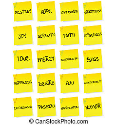 Set of sheets of paper with negative emotions