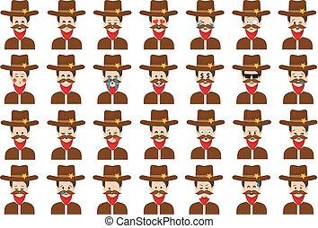 Set of sheriff emoticon vector isolated on white background.