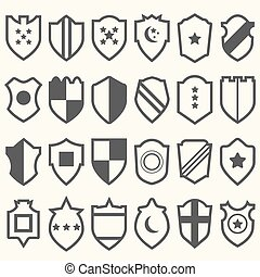 Set of shield icons with symbols