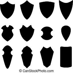 Set of shield in silhouette style, vector