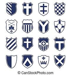 Set of shields isolated on white