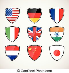 set of shields with flags