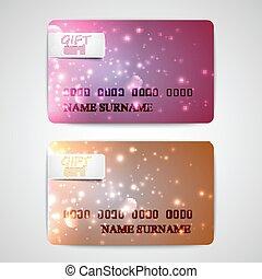 set of shiny gift cards