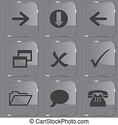 Set of shiny glass web buttons vector illustration