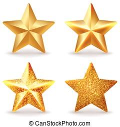 Set of shiny golden stars