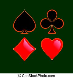 Set of shiny playing card suitswith gold outline isolated on green background