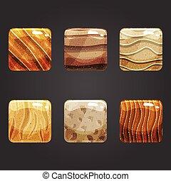 Set of shiny sand square button