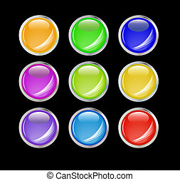 Set of shiny vector buttons with empty space for your design.
