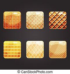 Set of shiny waffle square button