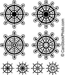 Set of ship steering wheels