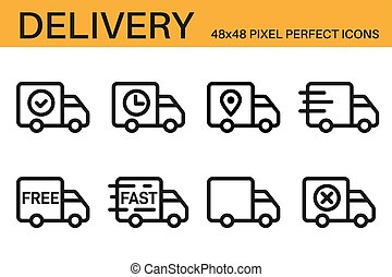 Set of shipping, delivery icons. Delivery status symbols - delivered, shipped, scheduled, on the way, in transit, approve, confirmed. Shipping service symbols. Outline, line icons. Vector illustration