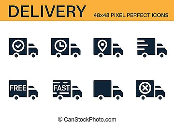 Set of shipping, delivery icons. Delivery status symbols - delivered, shipped, scheduled, on the way, approved, confirmed. Shipping service symbols. Glyph icons. Vector illustration