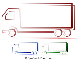 set of shipping truck images