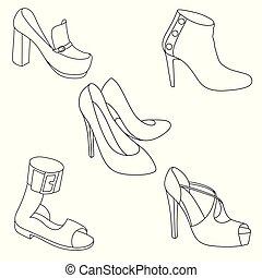 Set of shoes on white background