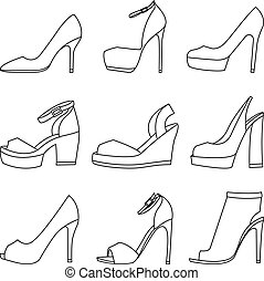Set of shoes silhouettes on white background