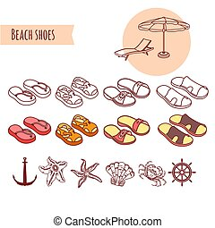 Set of shoes. Vector summer beach vacations elements.