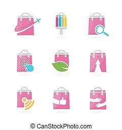 Set of shop logo combination. Deal and retail symbol or icon. Unique sale and bag logotype design template.