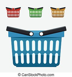 Set of Shopping basket icons set. Vector flat color illustration