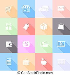 Set of shopping flat icons