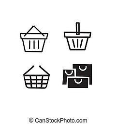 Set of shopping icons on a white background