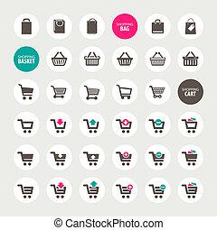 Set of shopping icons - Set of shopping cart, basket and bag...