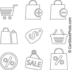 Set of shopping line icons, vector illustration